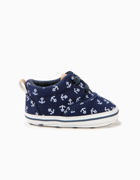 Anchors' Booties for Newborns, Blue