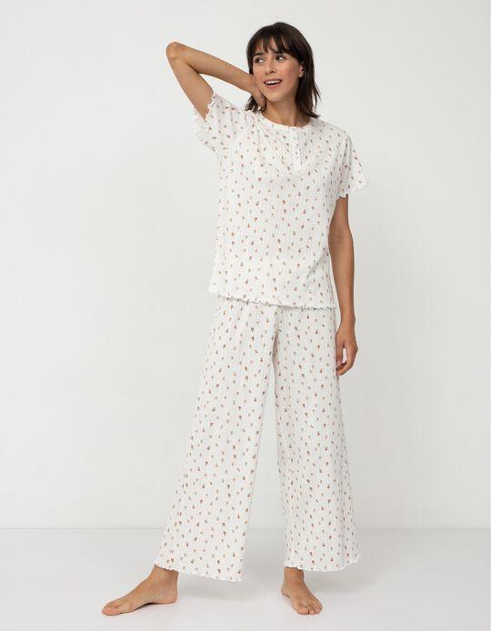 Floral Rib Knit Pyjamas, White