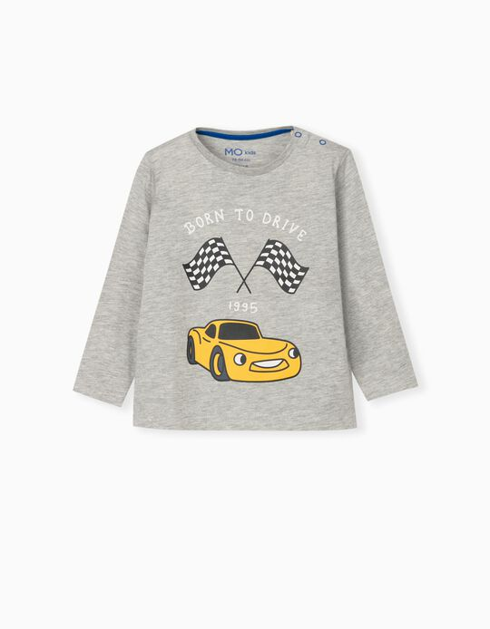 Long Sleeve Top for Baby Boys, Grey