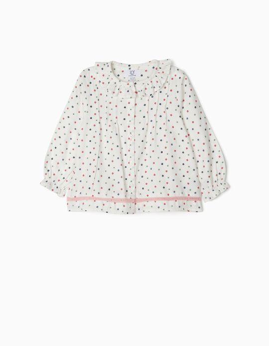Blouse for Baby Girls 'Flowers', White