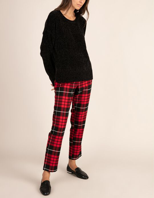 Tailored fit tartan trousers