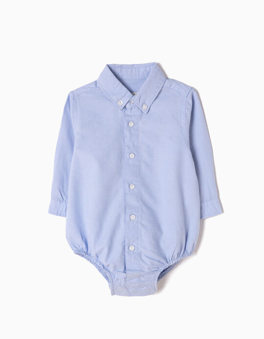 Oxford Shirt-Bodysuit for Newborn, Blue