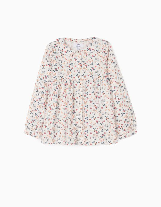 Floral Blouse for Girls, White