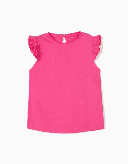 T-shirt para Bebé Menina com Folhos, Rosa
