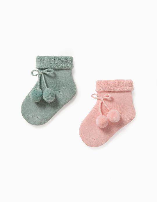 2 Pairs os Socks for Baby Boys, Pink/Aqua Green