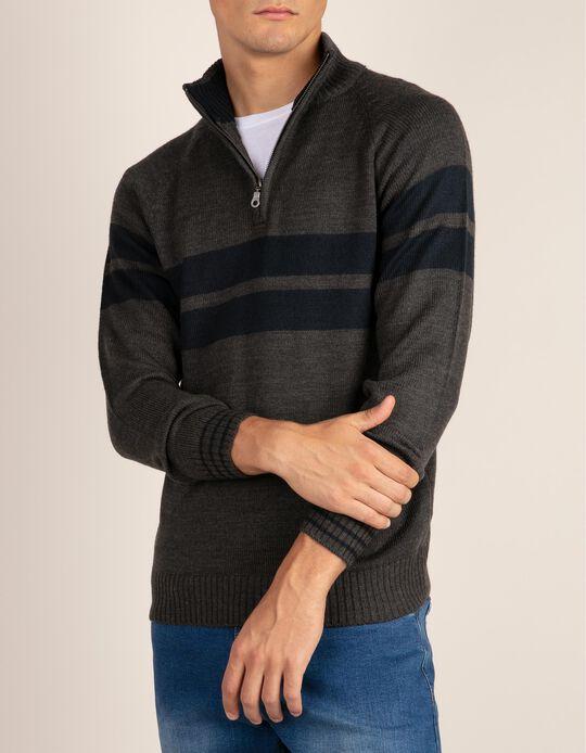 High neck striped jumper