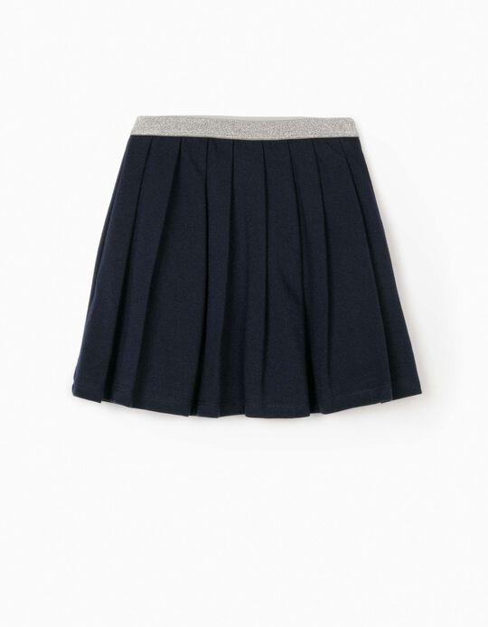 Piqué Knit Pleated Skirt for Girls, Dark Blue