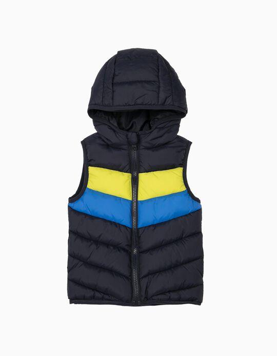 Hooded Bodywarmer for Baby Boys, Padded, Dark Blue