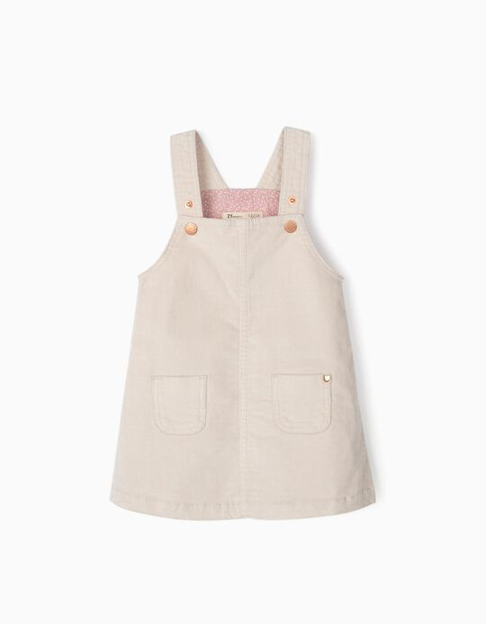 Corduroy Pinafore Dress for Baby Girls, Beige