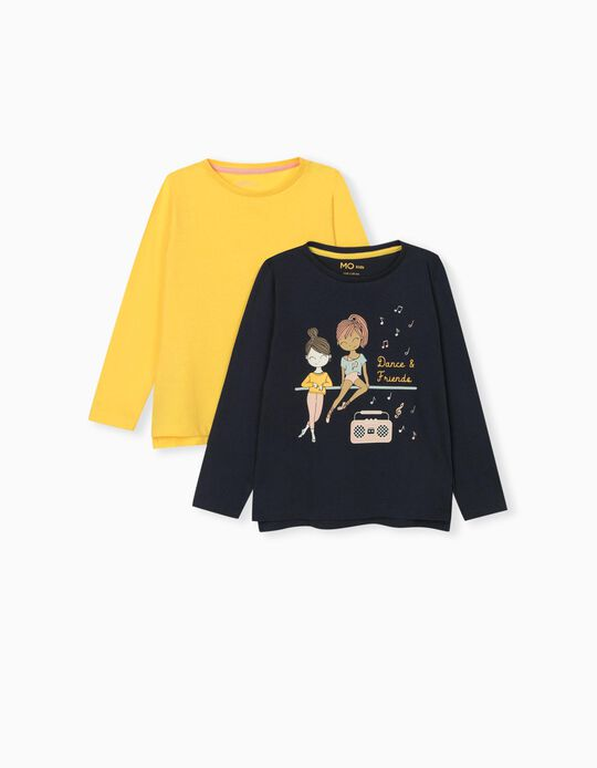 2 Long Sleeve Tops for Girls, Blue/ Yellow
