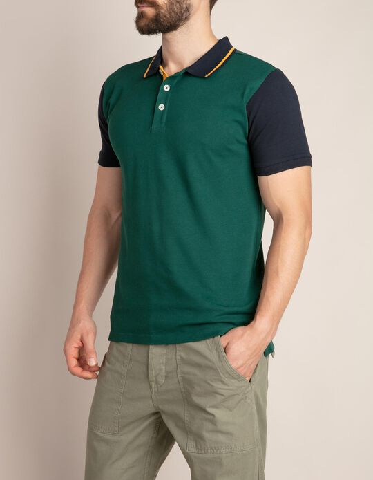 Multicoloured Polo Shirt with Stripe on the Collar