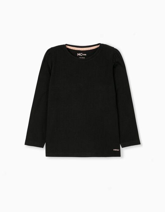 Long Sleeve Top for Girls, Black