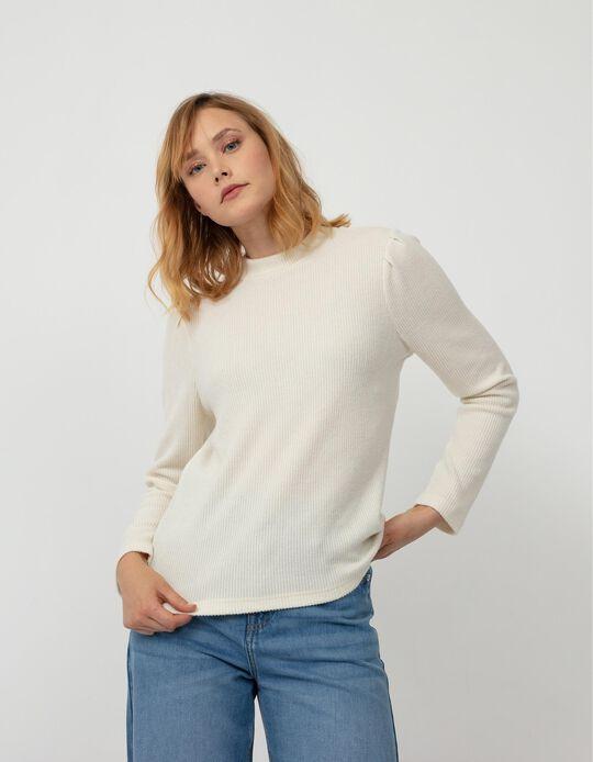 Rib Knit Top, Women, White