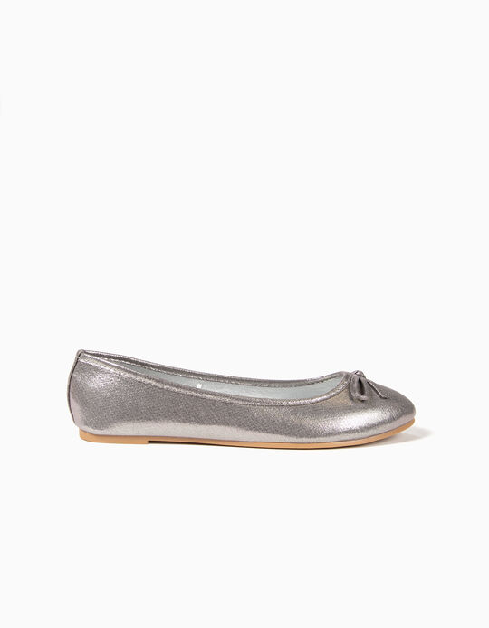 Ballet Pumps in Shiny Fabric