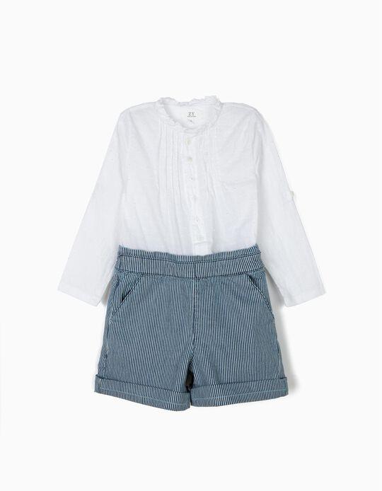 Macacão Combinado para Menina 'Plumeti & Stripes', Branco e Azul