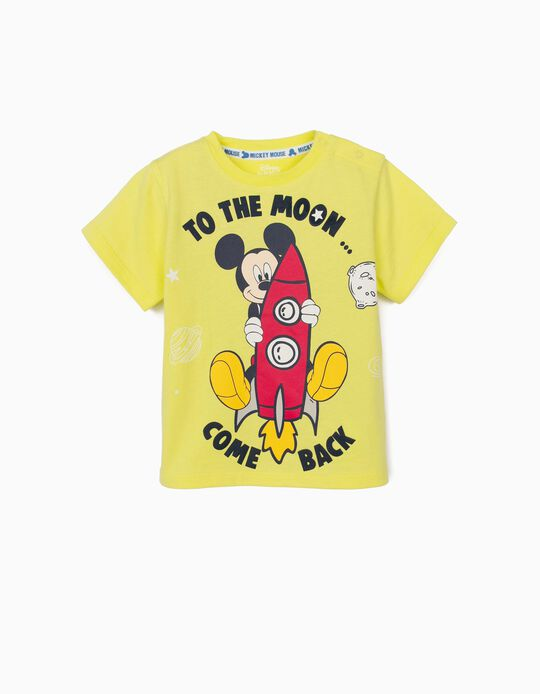 T-Shirt for Baby Boys, 'Mickey Mouse Moon', Lime Yellow