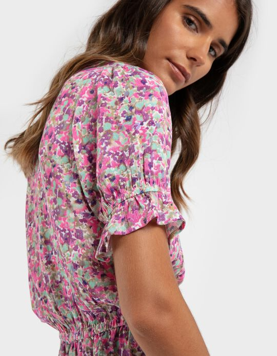 Ruffled blouse with print