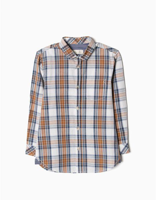 Camisa xadrez castanha