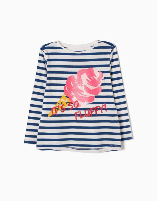 Striped Long-Sleeved T-Shirt, Ice Cream