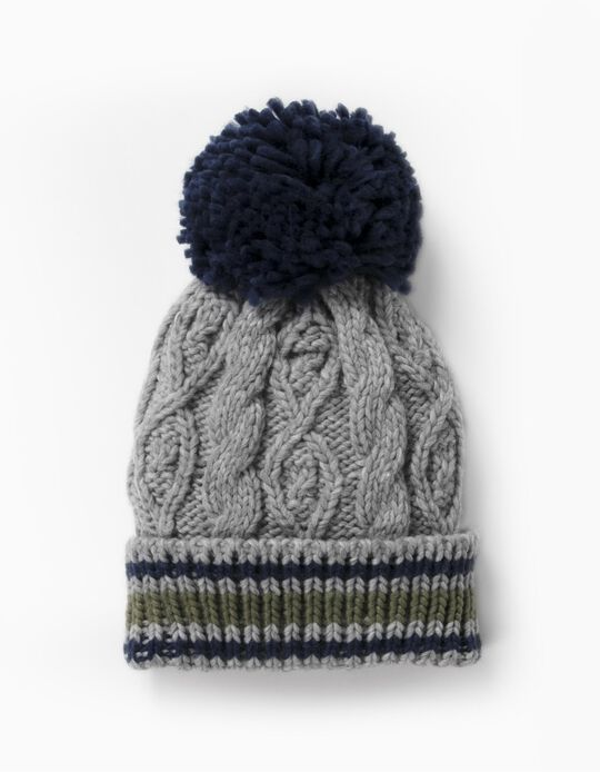 Knit Beanie with Pompom for Boys, Grey/Blue