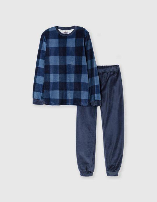 Velour Pyjamas, Men, Blue