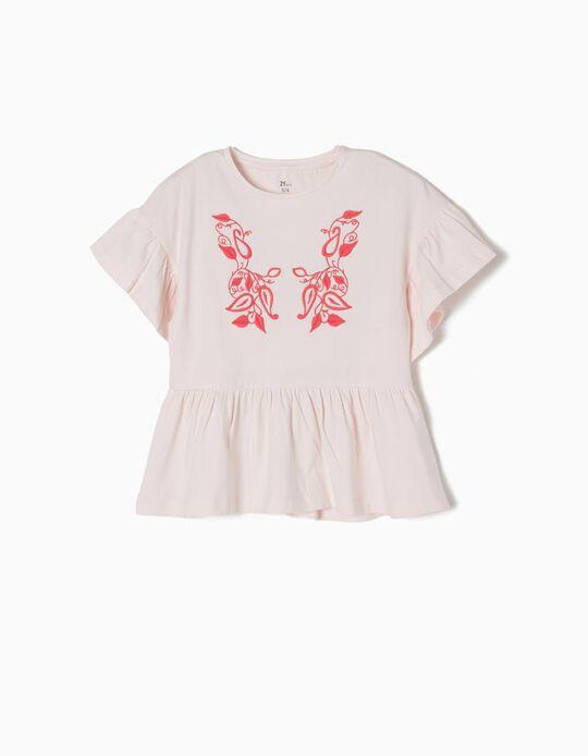 T-shirt Folhos e Bordado