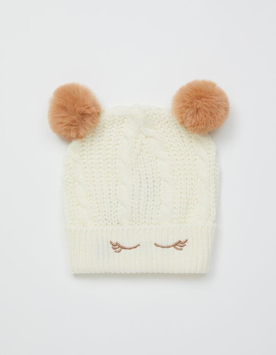 Knitted Beanie with Pompoms, Kids, White