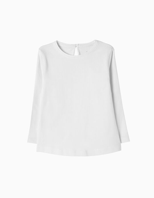 Long-Sleeved Basic Top, White