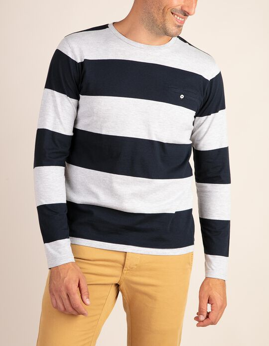 Striped long-sleeved top with pocket