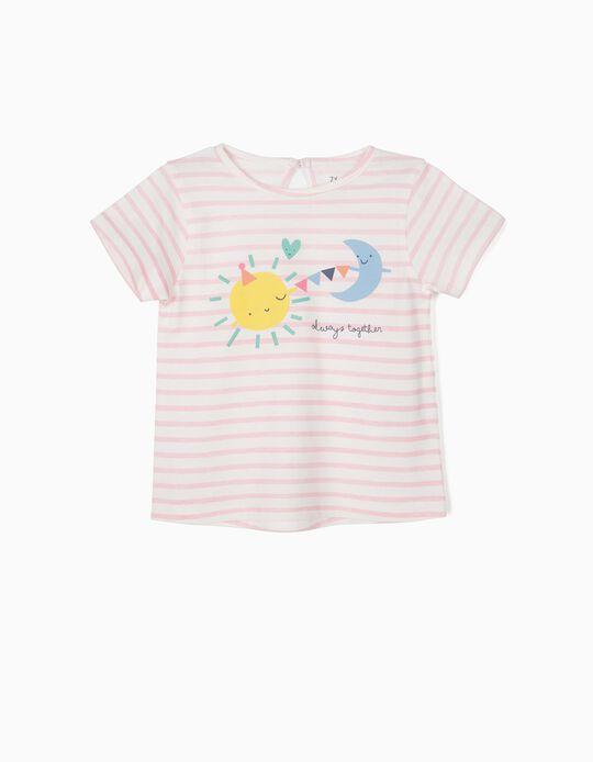 T-shirt para Bebé Menina 'Always Together', Branco e Rosa