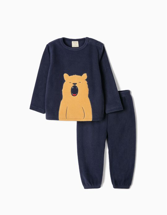 Polar Fleece Pyjamas for Baby Boys 'Bear', Dark Blue