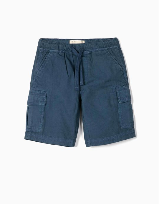 Cargo Shorts for Boys, 'Ripstop', Blue