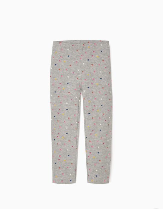 Leggings for Girls 'Colourful Hearts', Grey