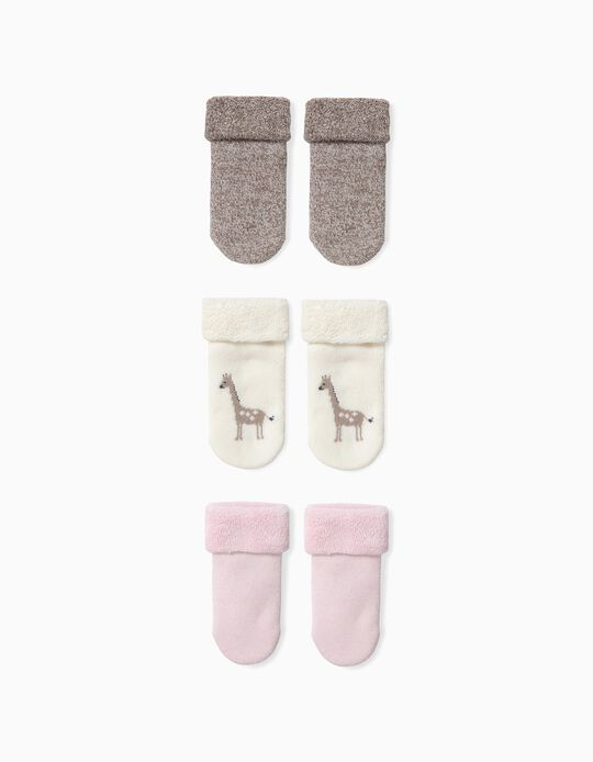 3 Pairs of Socks for Baby Girls 'Animals' in Organic Cotton, Multicolour