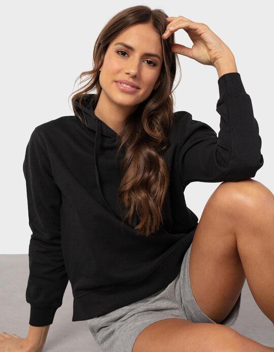 Sweatshirt Básica com Capuz, Mulher