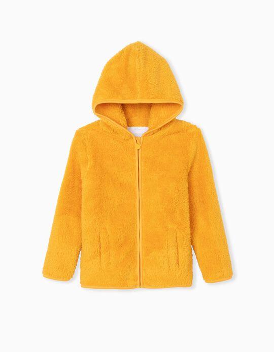 Minky Fabric Hooded Jacket, Children, Yellow