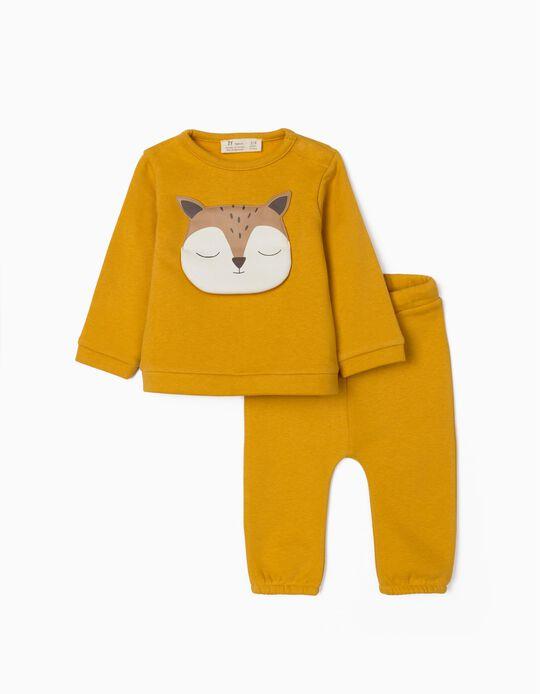 Tracksuit for Newborn Baby Boys, 'Cute Fox', Dark Yellow
