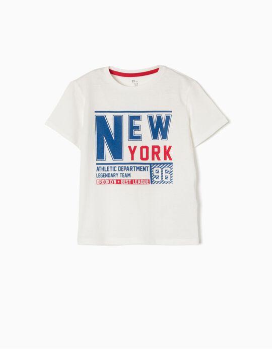 T-shirt New York 96 Branca
