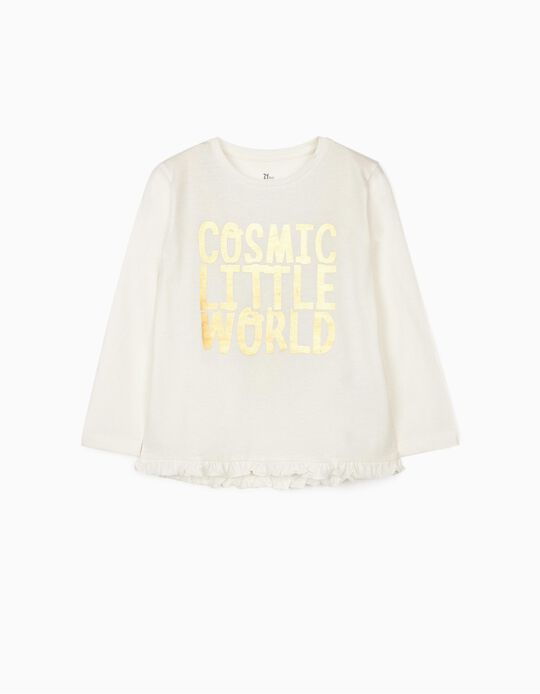 T-shirt Manga Comprida para Menina 'Moon', Branco
