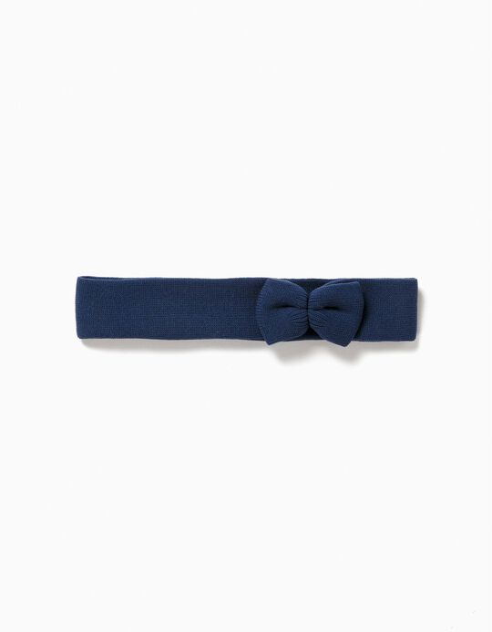 Hairband with Bow for Girls, Dark Blue