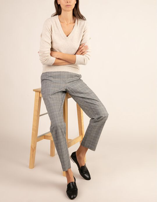 Tailored fit checked trousers