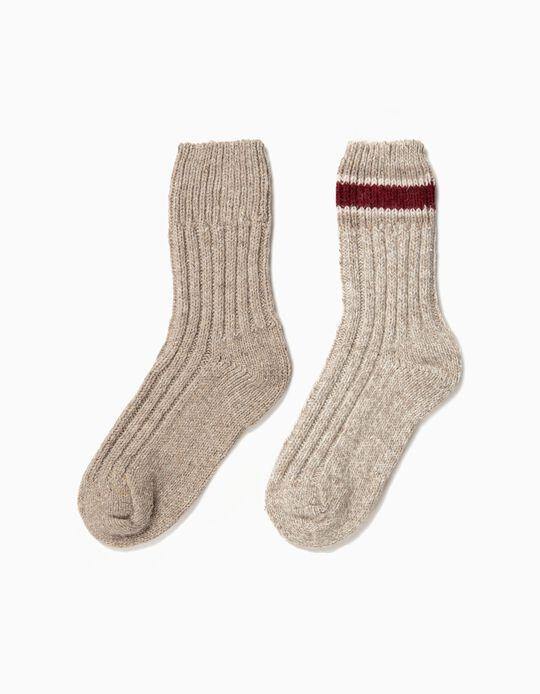 Pack de 2 meias caneladas em lã