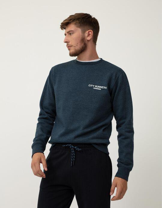 Sweatshirt Minimalista, Homem, Azul