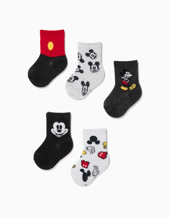 5 Pairs of Socks for Baby Boys, 'Mickey Mouse', Multicoloured