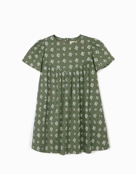 Dress for Girls, 'Flowers', Green