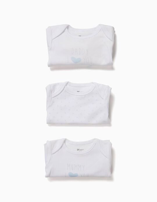 3 Bodies para Recém-Nascido 'Mum&Dad', Branco e Azul