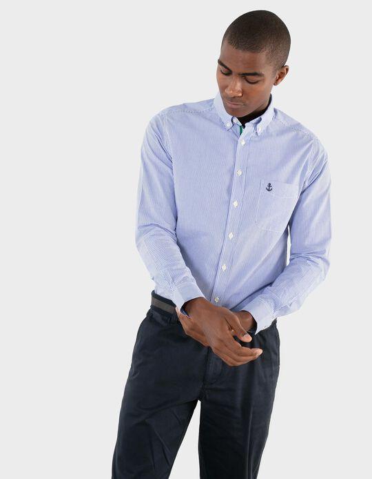 Camisa Slim Fit, Riscas, para Homem