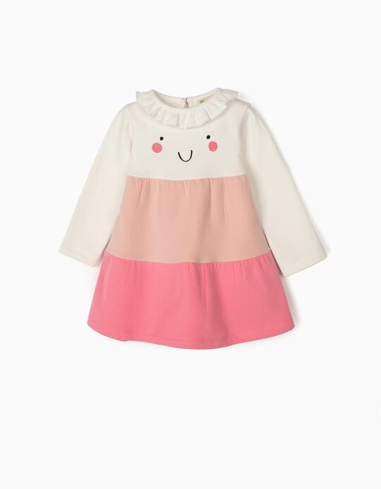 Dress for Baby Girls 'Smile', White/Pink