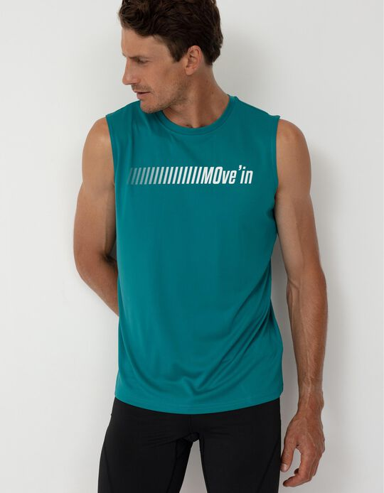 T-shirt Desporto Manga Cava, Homem, Azul