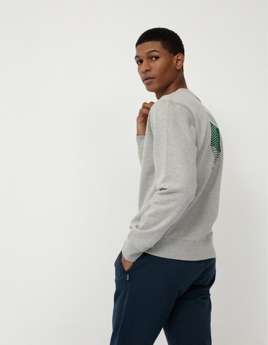 Printed Minimalist Sweatshirt, Men, Grey